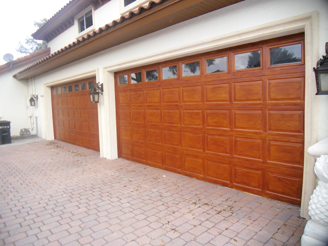 How to wood grain garage doors faux finish decorative for How to paint faux wood garage doors
