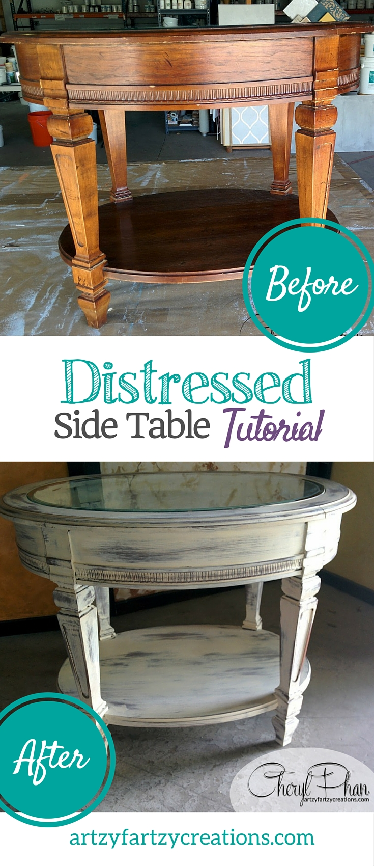 Pin It DIstressed Side Table