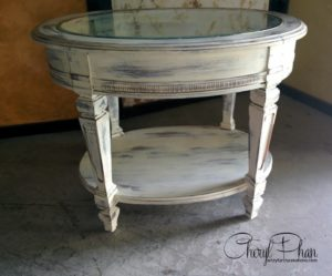 End Table After swiss Chocolate base, Pure Silk top, clear wax