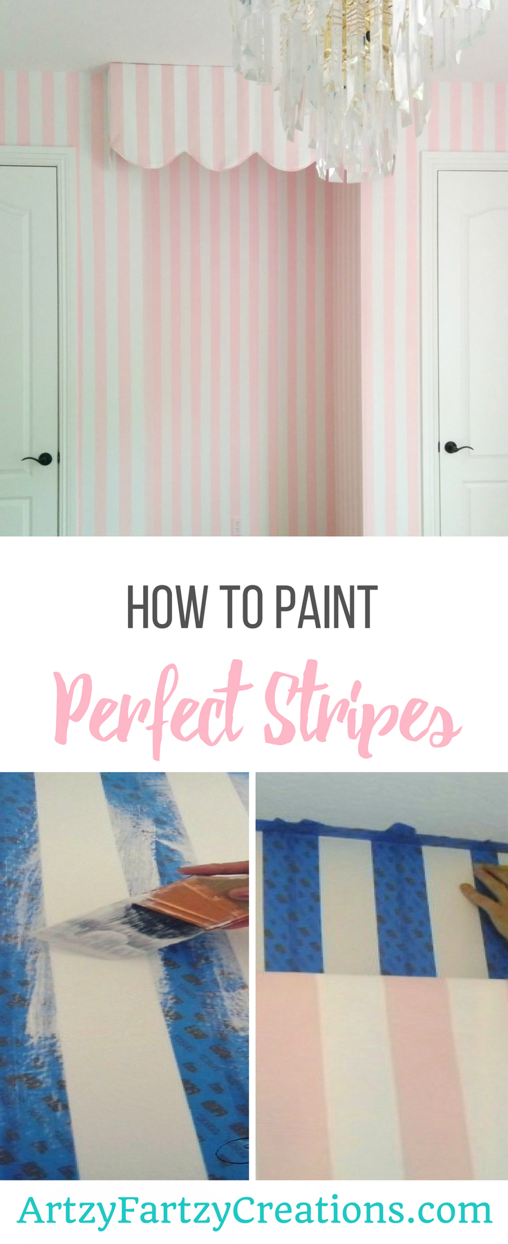 How to Paint Perfect Stripes by Cheryl Phan | Painting Striped Wall | Painting Tips | Striped Feature Wall | Striped Nursery Ideas | Pink and White Stripes