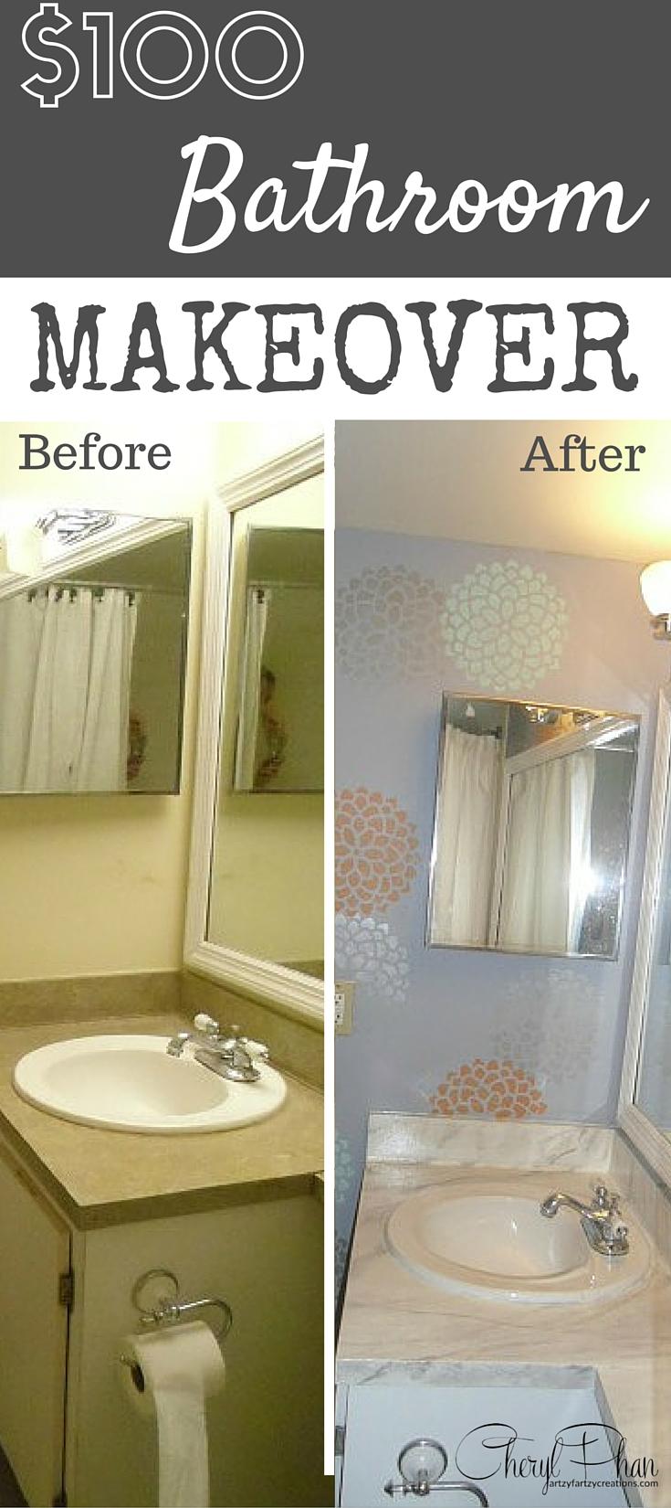 Bathroom Makeover Under 100 Faux Finish Decorative