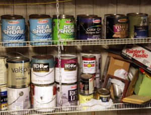Old paint cans in garage