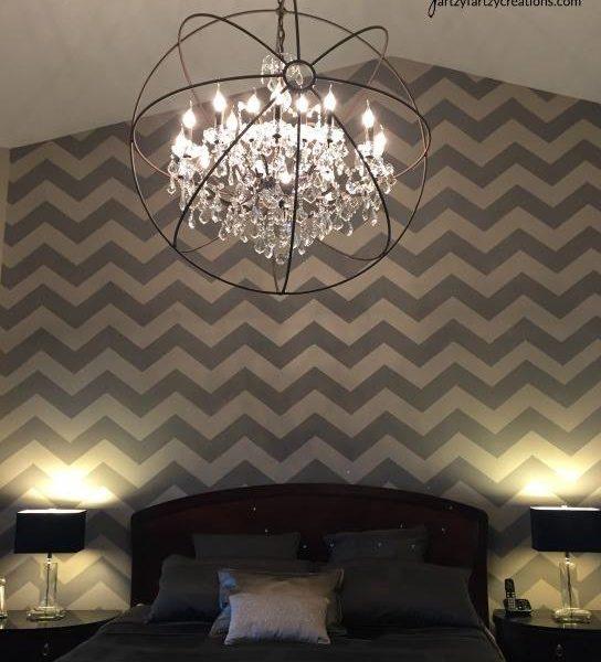 Chevron Stenciled Bedroom