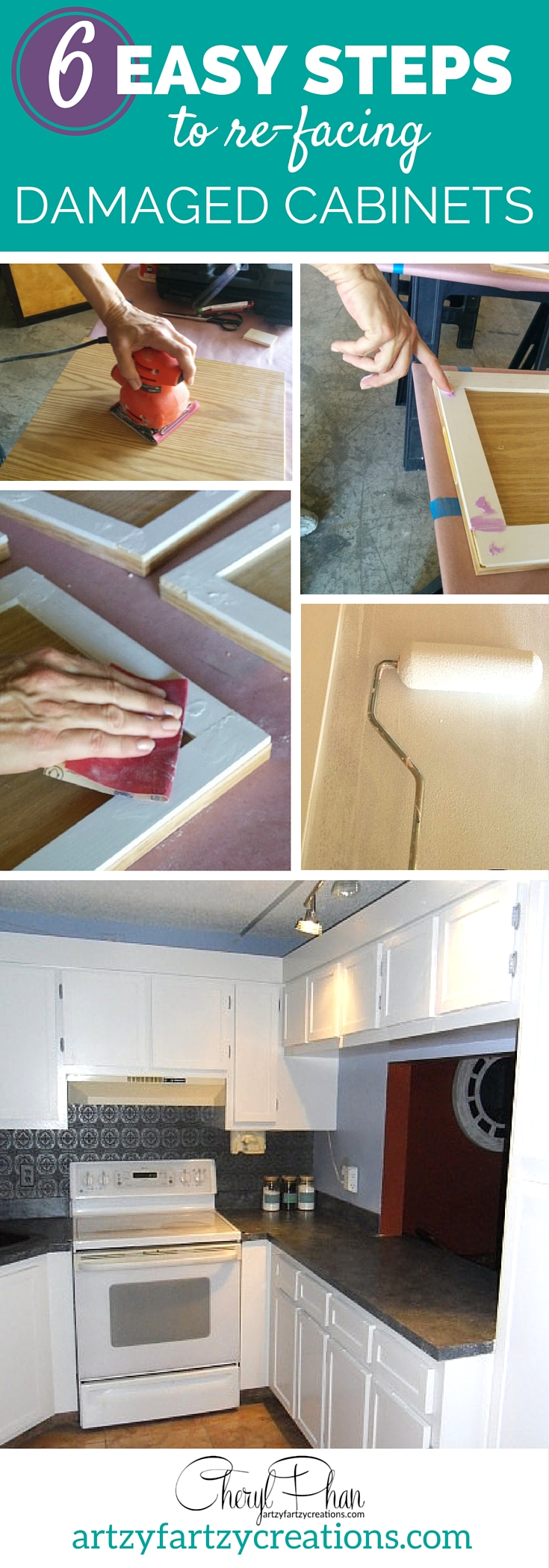 Pin it: 6 easy steps to refacing damaged cabinets