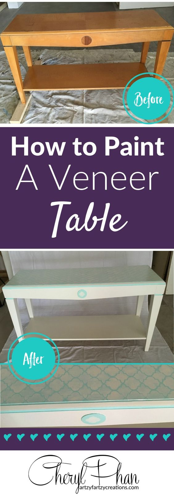 How to Paint Veneer   Painting a Veneer Table   Furniture Makeovers and Painting Tips by Cheryl Phan