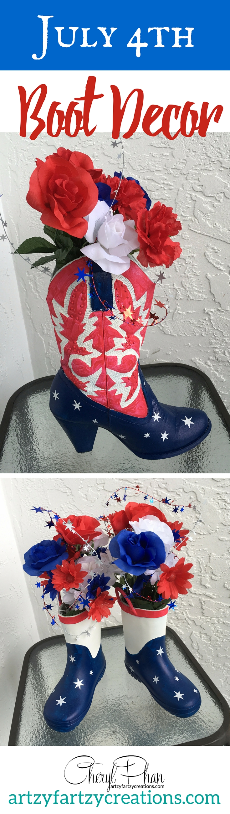July 4 Boot Decor
