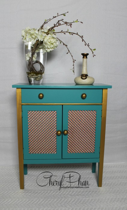 Teal Table with signiture