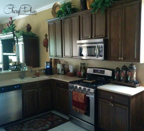 Faux Wood Grained cabinets