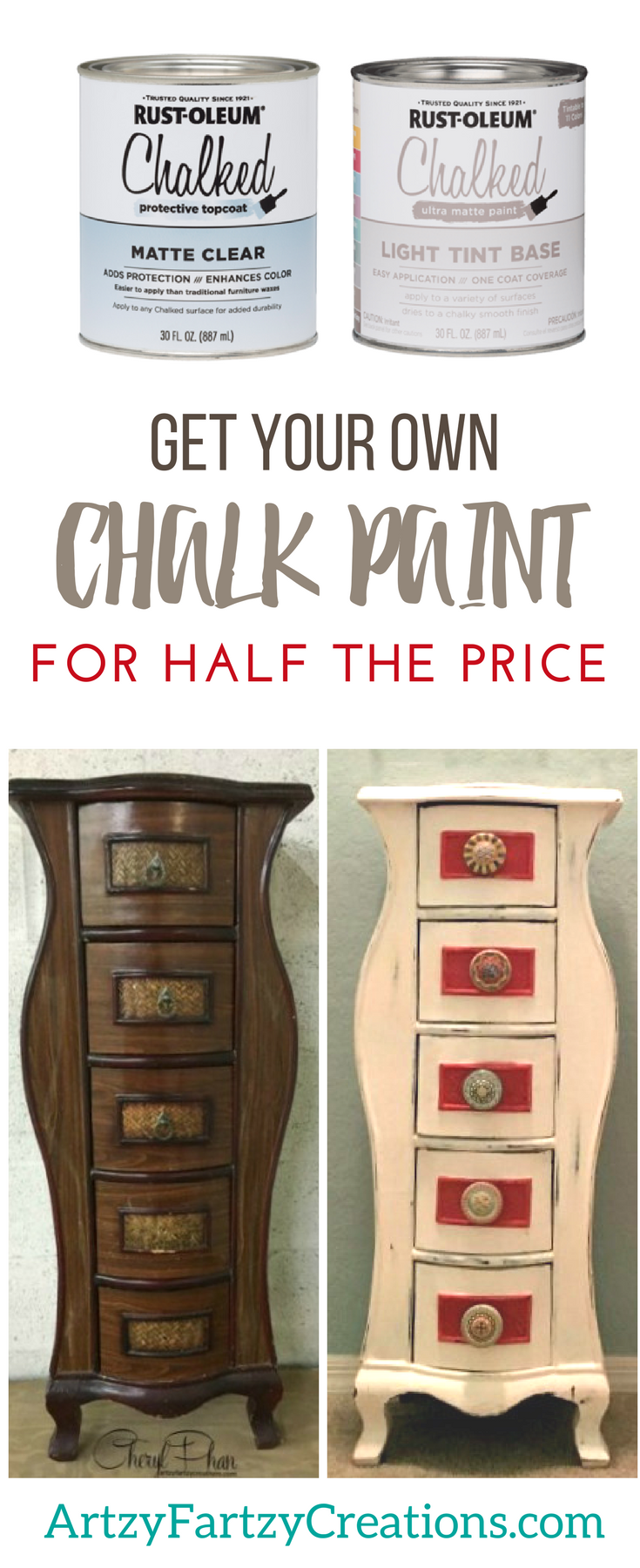 Get your own Chalk Paint for half the price | Chalk Paint Brands | Painting with Chalk Paint | Painting Tips by Cheryl Phan of ArtzyFartzyCreations.com