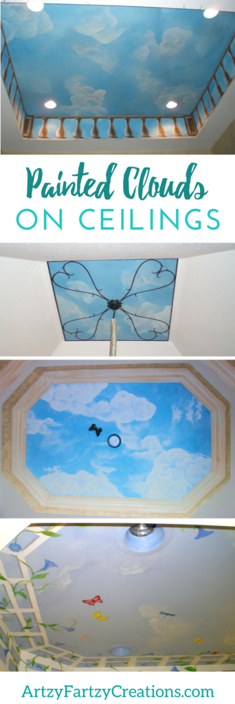 Painted Clouds on Ceilings and Walls | Cloud Ceilings | How to paint clouds on murals | Painted Ceiling Ideas | Cheryl Phan of ArtzyFartzyCreations.com