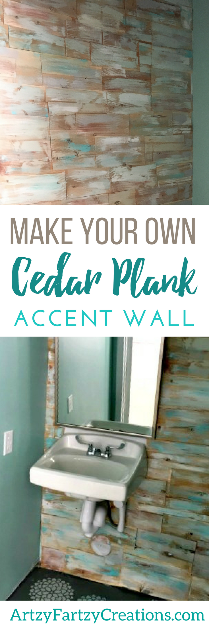 DIY Cedar Wall - Wood Plank Wall | Painted Accent Wall Ideas and Focal Wall Ideas | Bathroom Makeovers | Painting tips by Cheryl Phan of ArtzyFartzyCreations.com