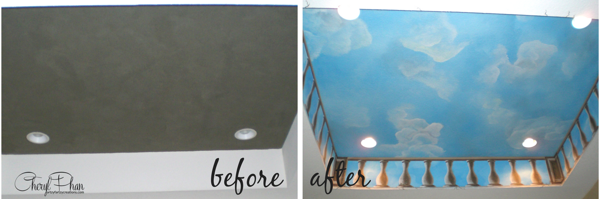 Painted Clouds on Ceilings & Walls Before and After | Cheryl Phan