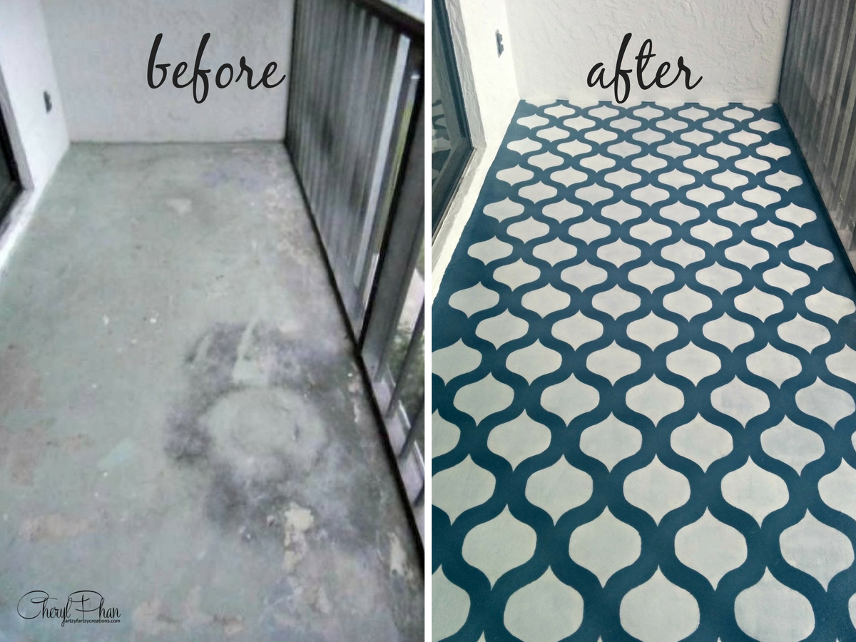 Painted and Stenciled Floor Before & After | Cheryl Phan of artzyfartzycreations.com