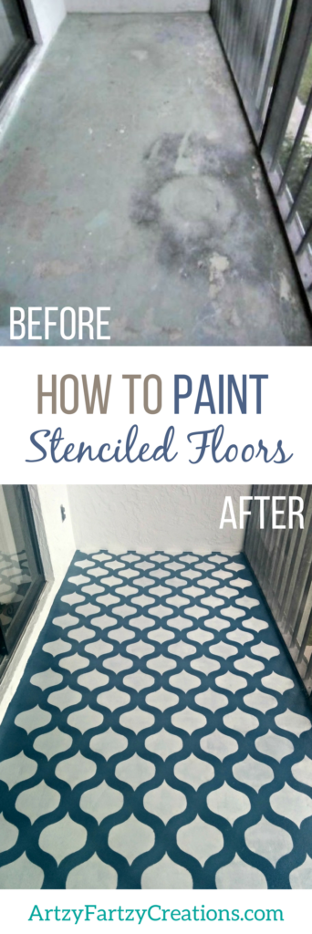 How to stencil a floor | Stenciled Floor Ideas | Painted Floor | How to paint a floor | How to paint concrete | Floor Makeovers by Cheryl Phan of ArtzyFartzyCreations.com