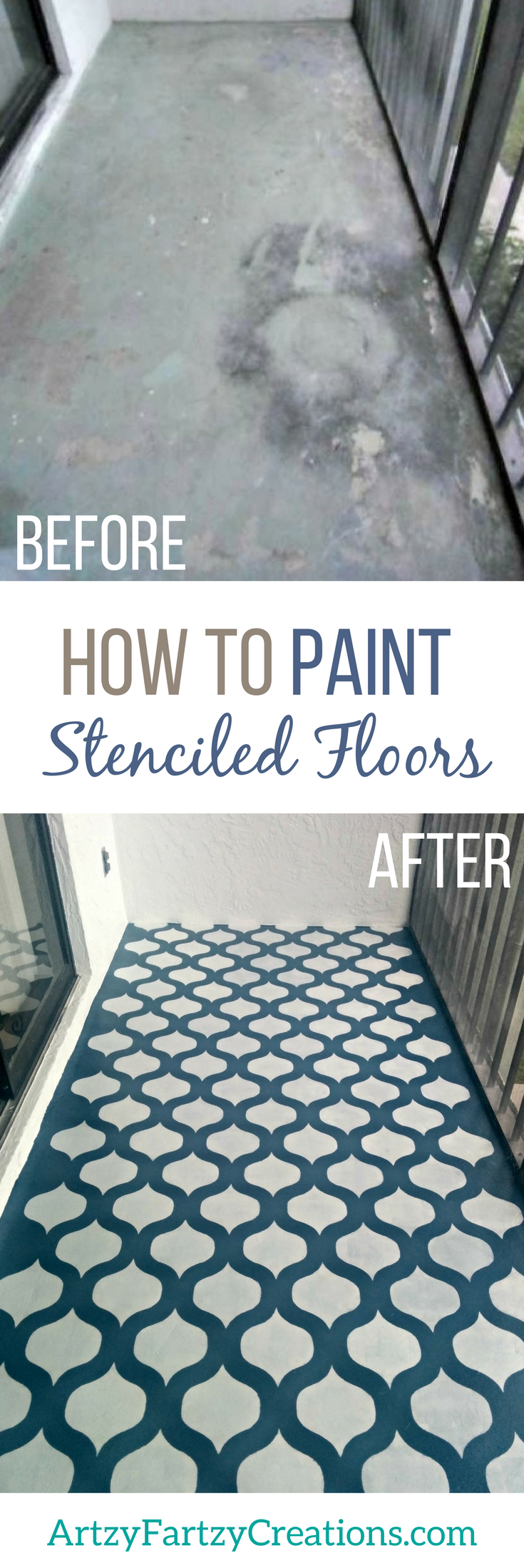 How To Paint A Stenciled Floor On Concrete Cheryl Phan