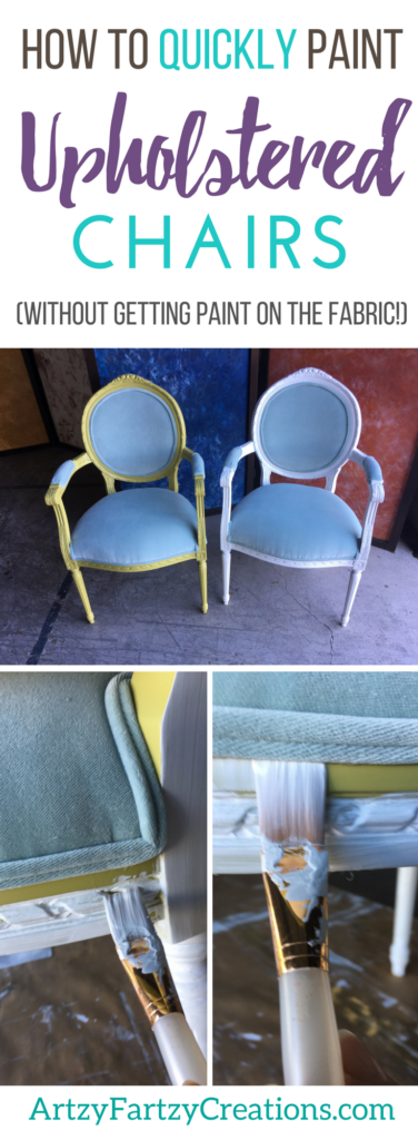How to Paint Upholstered Chair Frames without Getting Paint on the Fabric Cushions | Furniture Painting Tips by Cheryl Phan