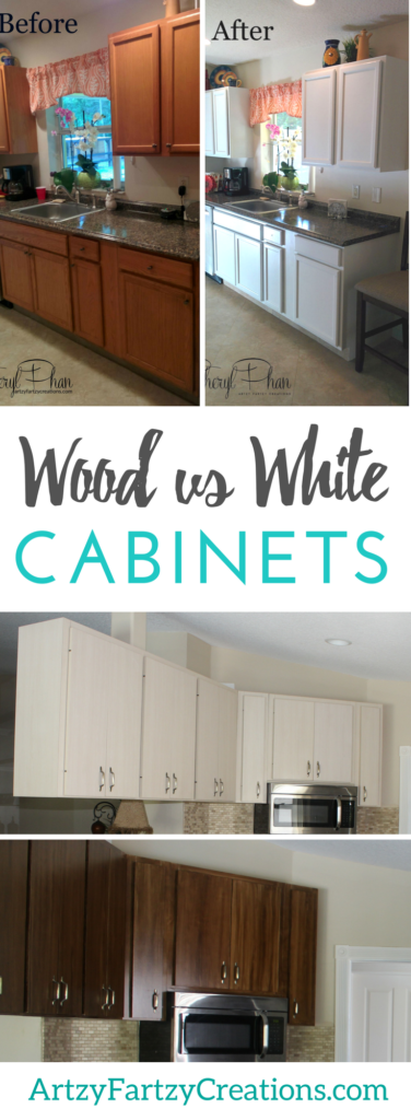 Wood vs White Cabinets | Painted Kitchen Cabinets vs Wood Stained Kitchen Cabinets | Cabinet Painting Tips by Cheryl Phan