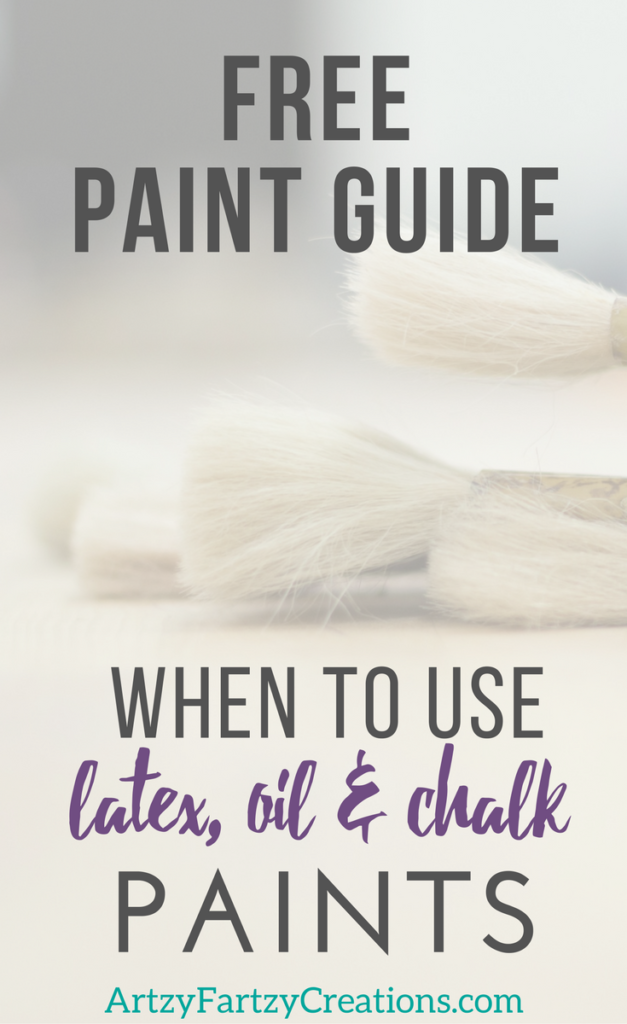 Free Paint guide for when to use latex paint, when to use chalk paint and when to use oil-based paints. Painting Tips by Cheryl Phan