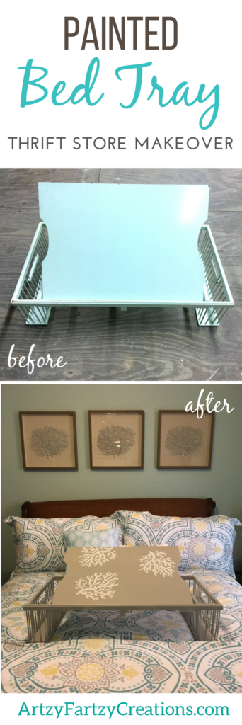 Painted Bed Tray Makeover - A Thrift Store Find upgraded to give any bedroom a five-star rating. Painting Tips by Cheryl Phan