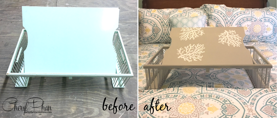 AF Painted Bed Tray Before-After Cheryl Phan