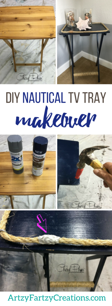DIY Nautical TV Tray Makeover | Coastal Decor + DIY Projects by Cheryl Phan