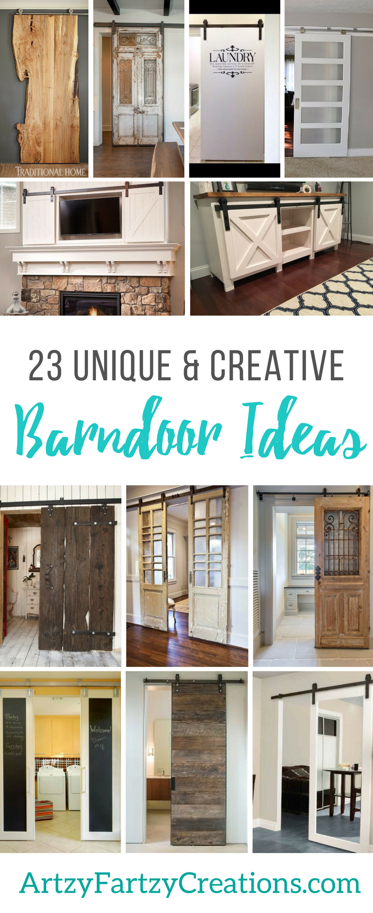 AF 23 Barndoor Ideas for your Home - Farmhouse Doors - Bypass Barndoor Furniture - Pantry - Kitchen - Laundry Room - Door Solutions - Contemporary Barndoors - Traditional Barndoors