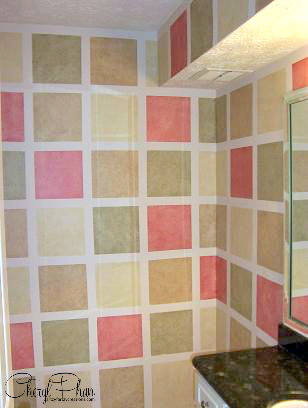 Rag Off Faux Finish - Painted Squares with Leftover Paint Cheryl Phan 2