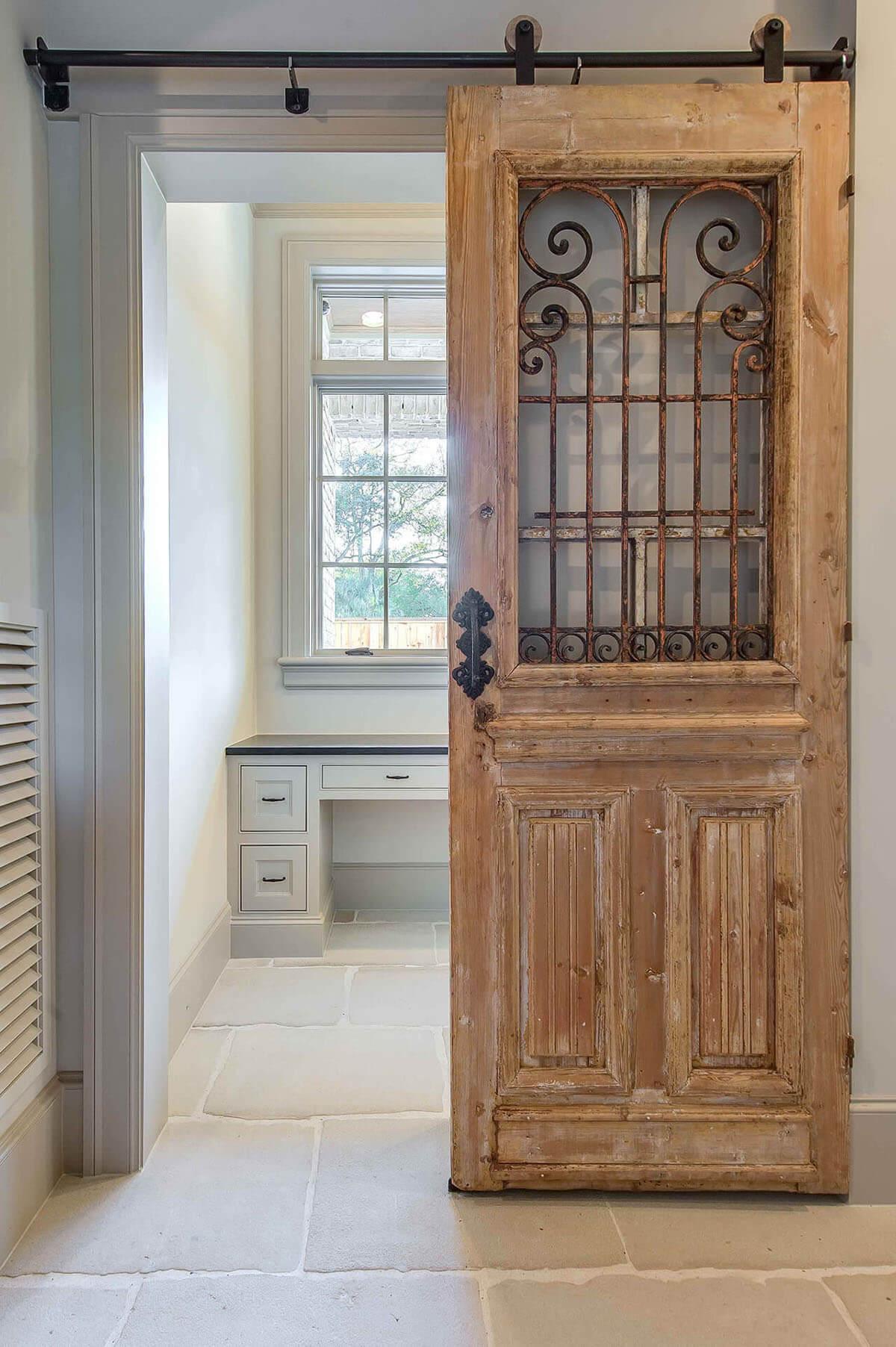 Wrought Iron Wood Barn Door 13