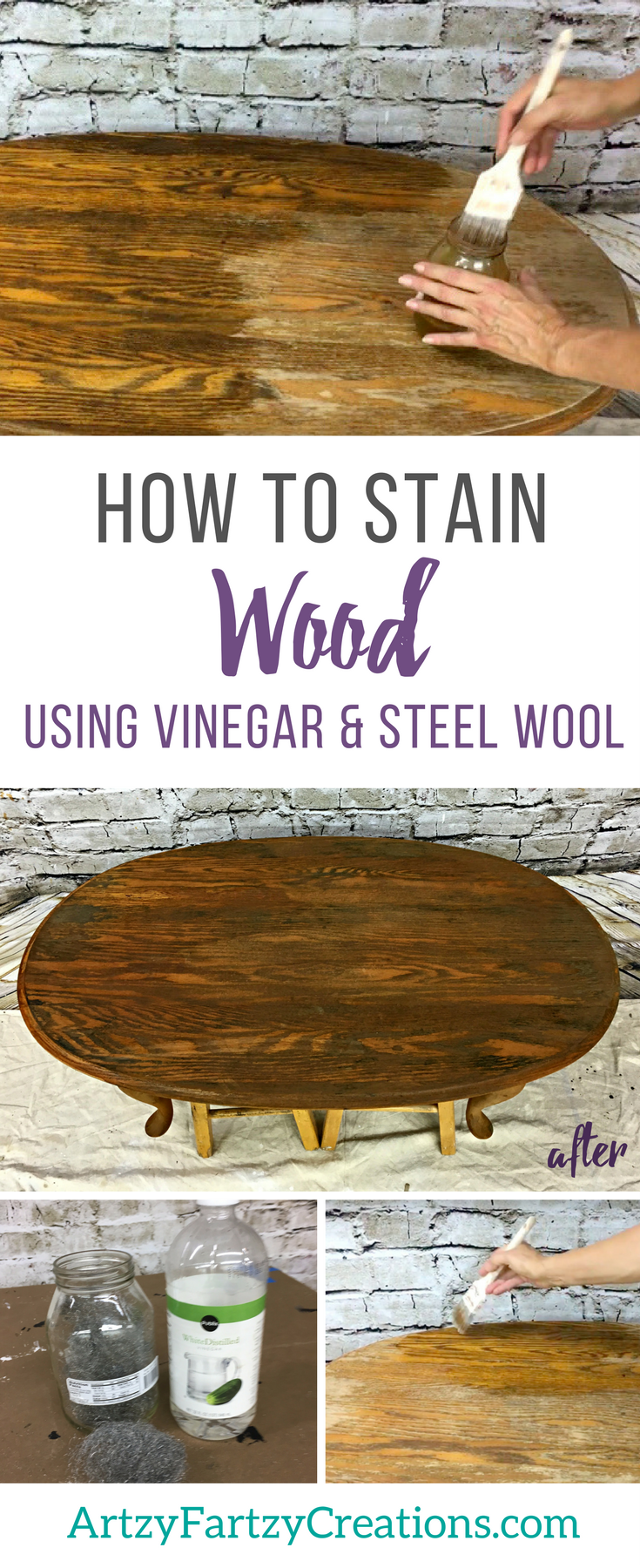 How to Stain Wood using Vinegar - Wood Stain Furniture by Cheryl Phan | Furniture Painting TIps | Furniture Makeover