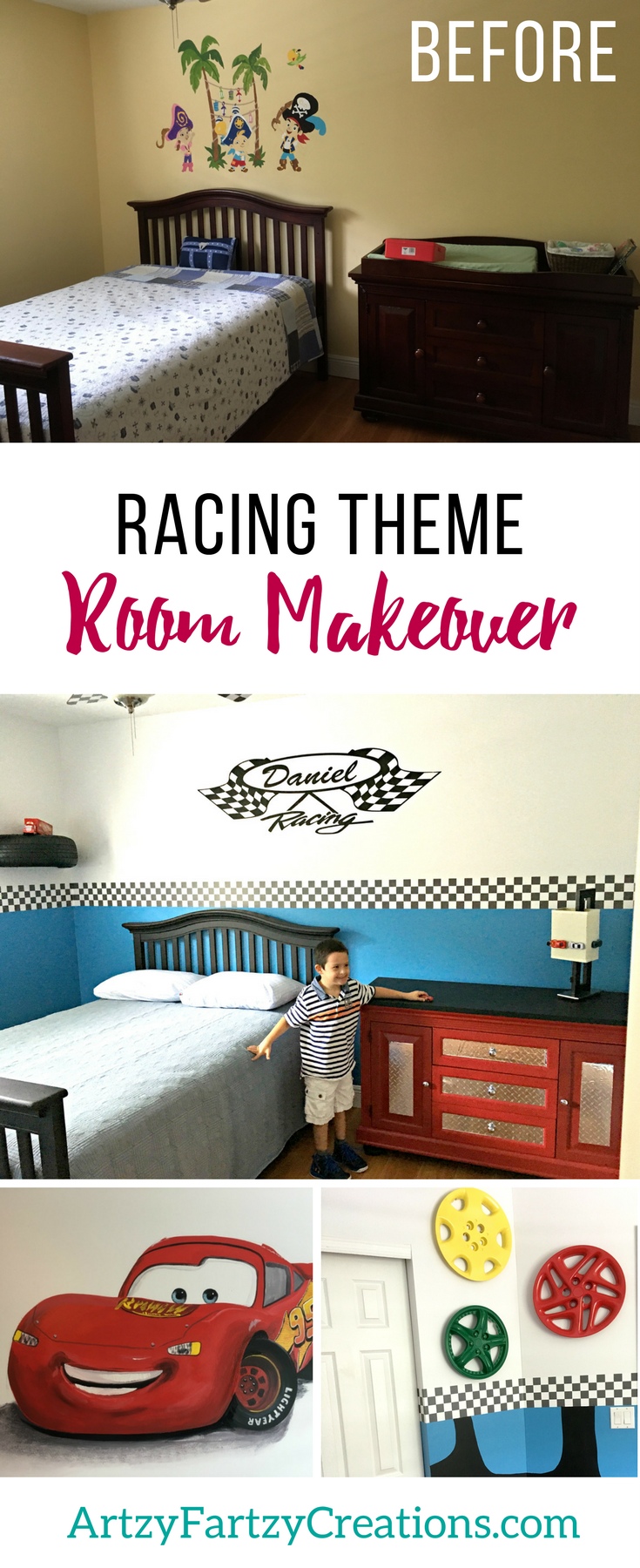 Race Car Boys Bedroom Makeover by Cheryl Phan | Lightening McQueen Boys Bedroom Ideas | Nascar Fan Boys Room Decor