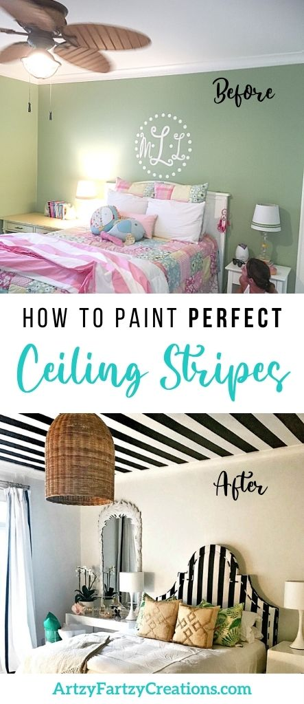 How to paint perfect ceiling stripes by Cheryl Phan