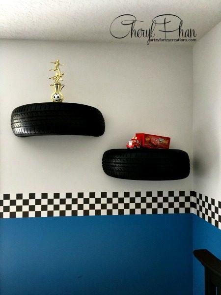 Shelves made from golf cart tires