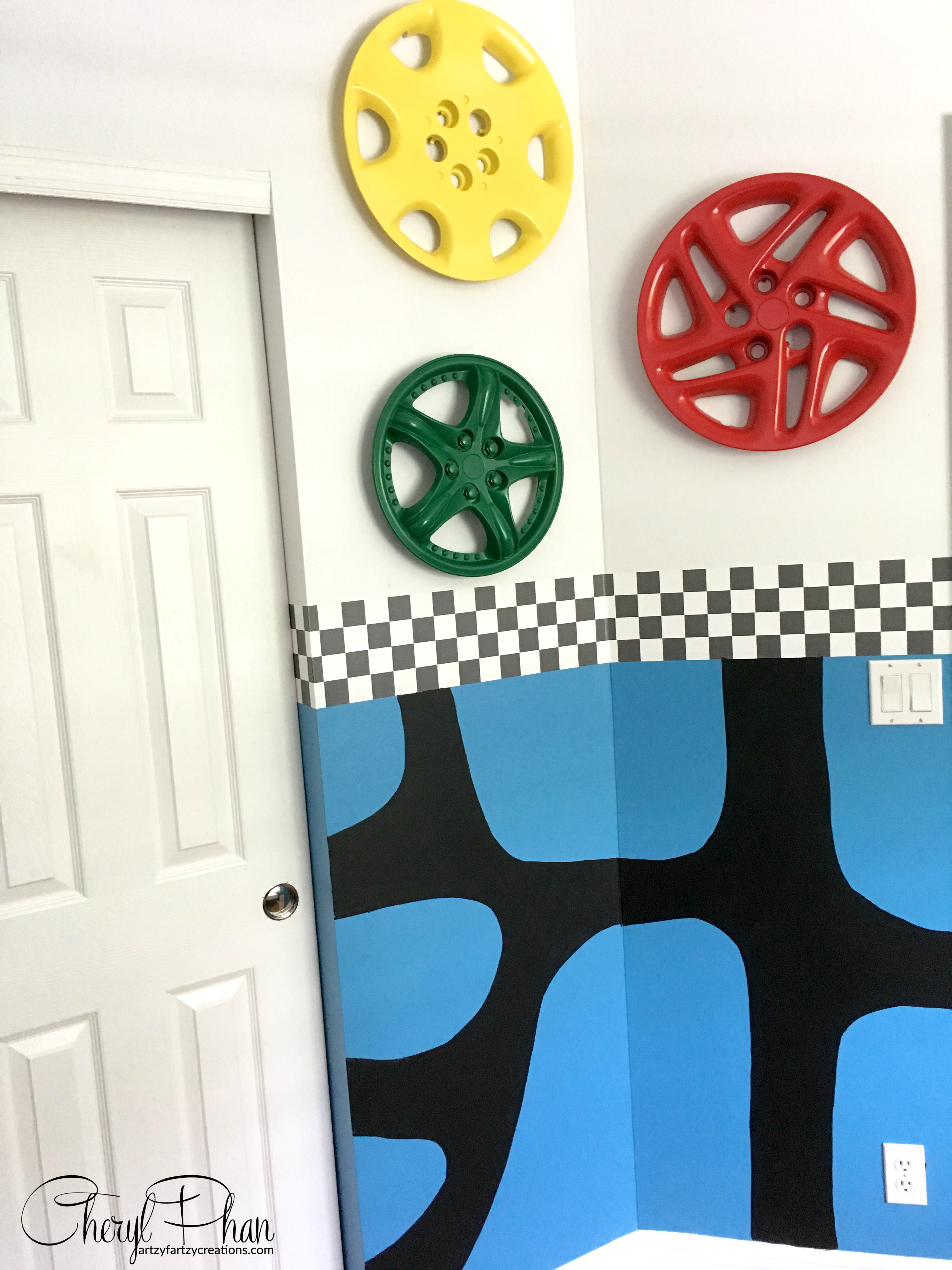 Race Car Boys Room Cheryl Phan Hub Cap Wall Art