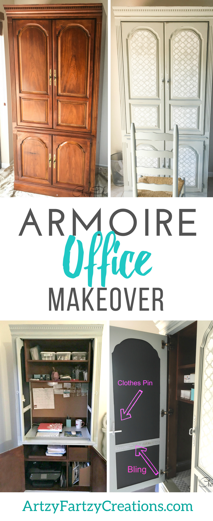 A great space saver! Office in an Armoire by Cheryl Phan | Office Organization Ideas | Armoire Office Ideas | Wardrobe Makeover | Furniture Painting Tips | Painted Furniture | Functional Furniture | Home Office Ideas | Office Space