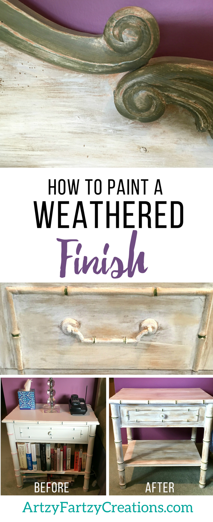 How to Paint a Beachy, Weathered Furniture Finish by Cheryl Phan   How to Paint Furniture   Furniture Painting Tips   Coast Furniture   Beach Decor   Furniture Makover Ideas   Rustic Bedroom Furniture