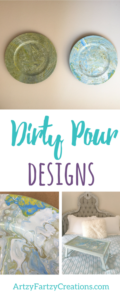 Dirty Pour Designs by Cheryl Phan of ArtzyFartzyCreations.com | DIY Faux Finish | Marble Paint Pour | Home Decor Painting| TV Tray Makeover | Decorative Plate Charger