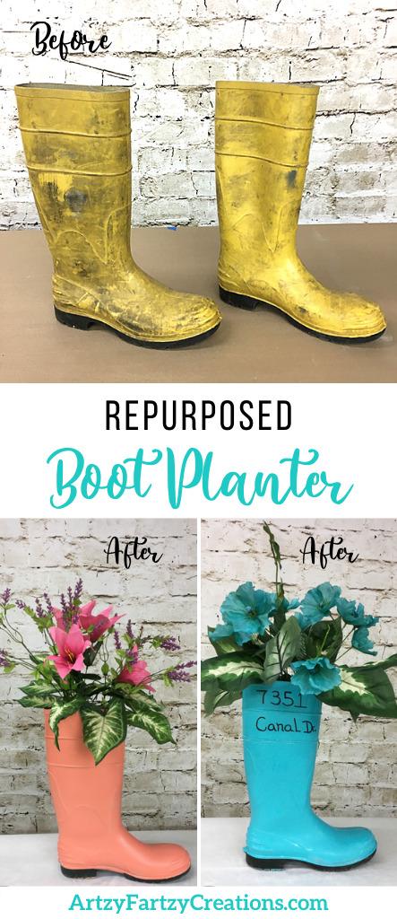 Re-purposed boot planter