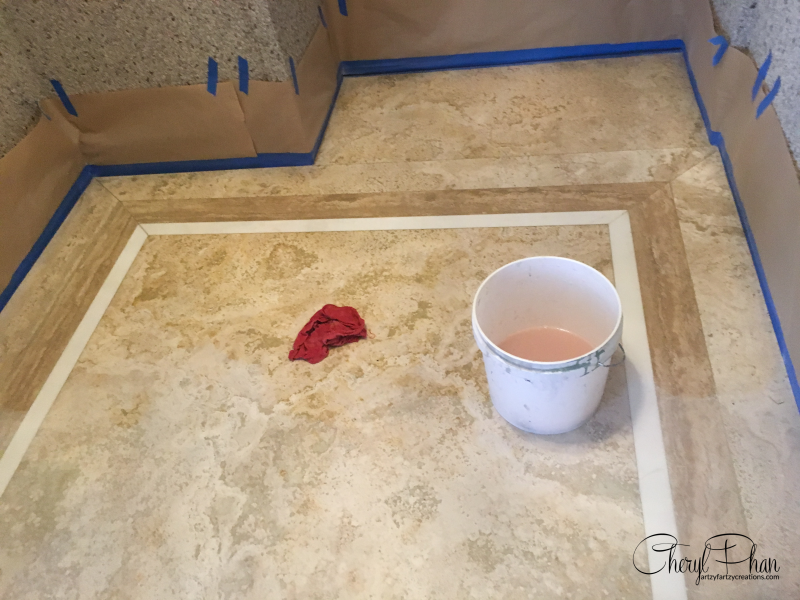How to Paint Tile-ArtzyFartzy Creations-Cleaning floor