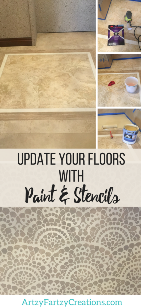 Paint and Stencil Tile Floor by ArtzyFartzyCreations.com & Cheryl Phan | Bathroom Makeover Ideas | #bathroommakeover | Tile Floor Upgrade | How to Stencil Tile | How to Paint Tile Floor Stencils