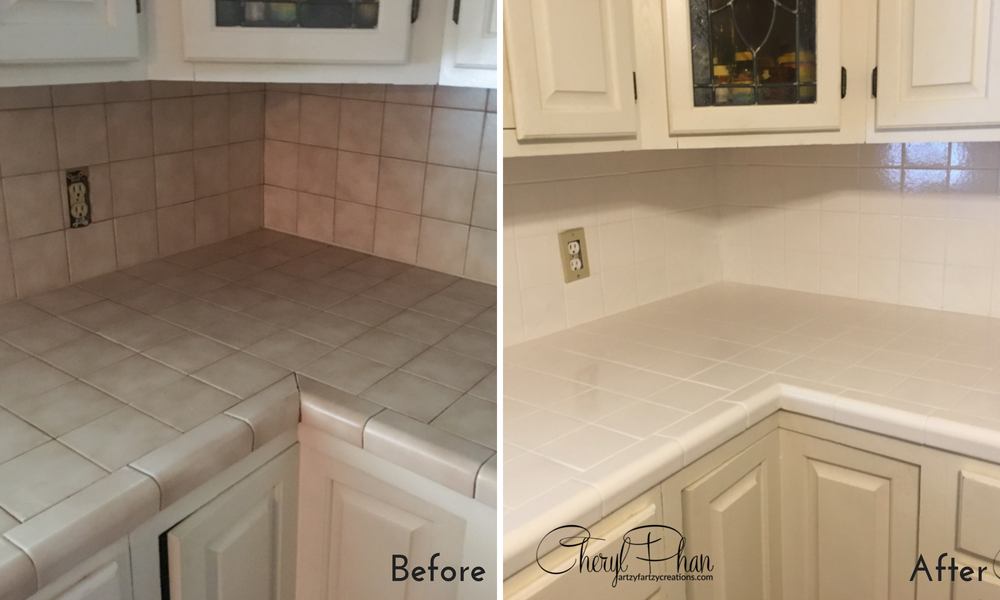 How to Paint Tile Counter Tops Before/After by artzyfartzycreations.com