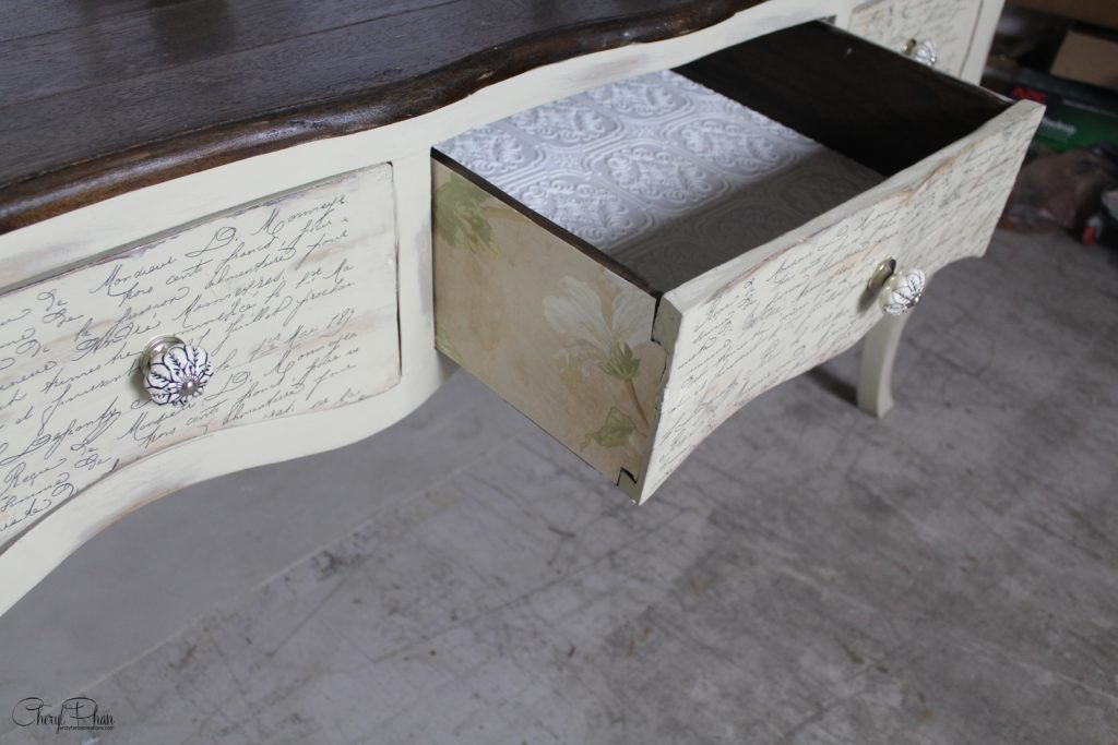 Update Your Furniture with Wallpaper - wallpaper on drawers