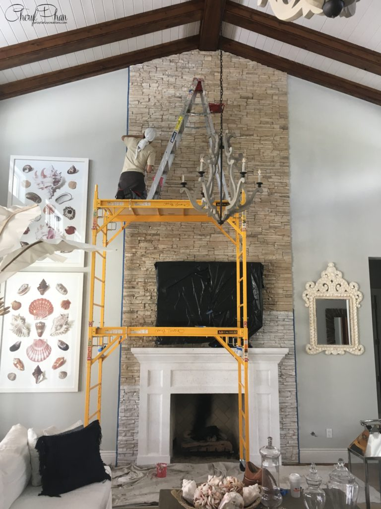 How to white wash a brick fireplace in one easy step
