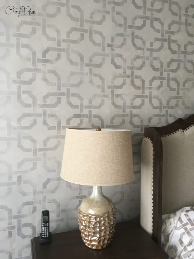 Prints Charming - Contemporary Stencil Wall design Makes a Statement by Cheryl Phan @ ArtzyFartzyCreaations.com
