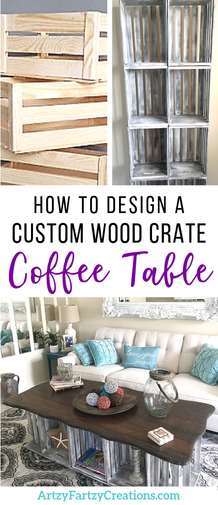How to design a custom wood crate coffee table for less than $150 by Cheryl Phan @ ArtzyFartzyCreations.com #diy #homemakeover #homedecor