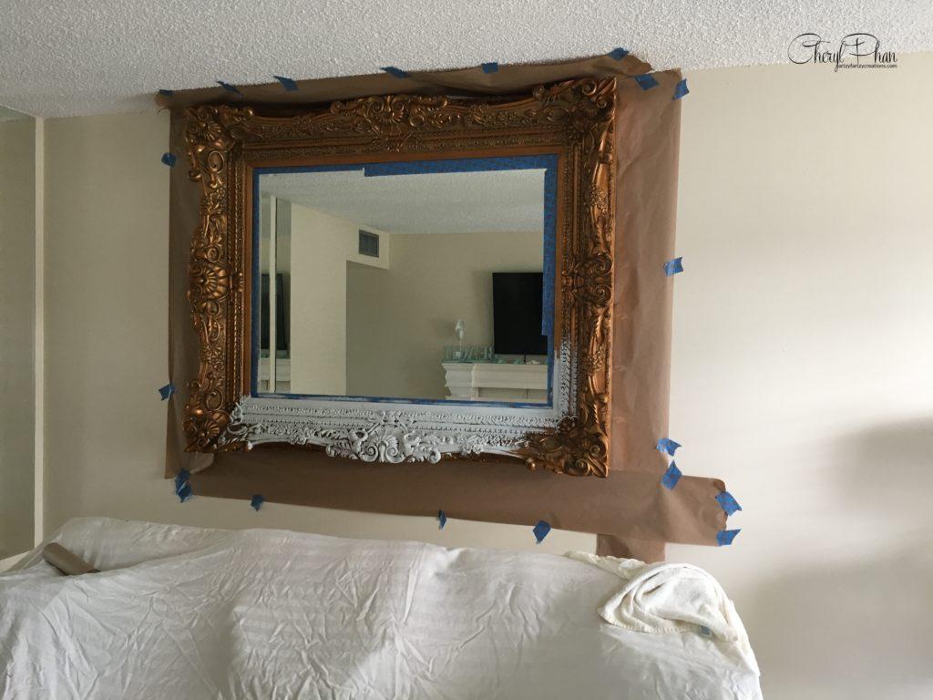 Budget-Friendly Home Makeovers - Mirror Makeover by Cheryl Phan @ ArtzyFartzyCreations.com