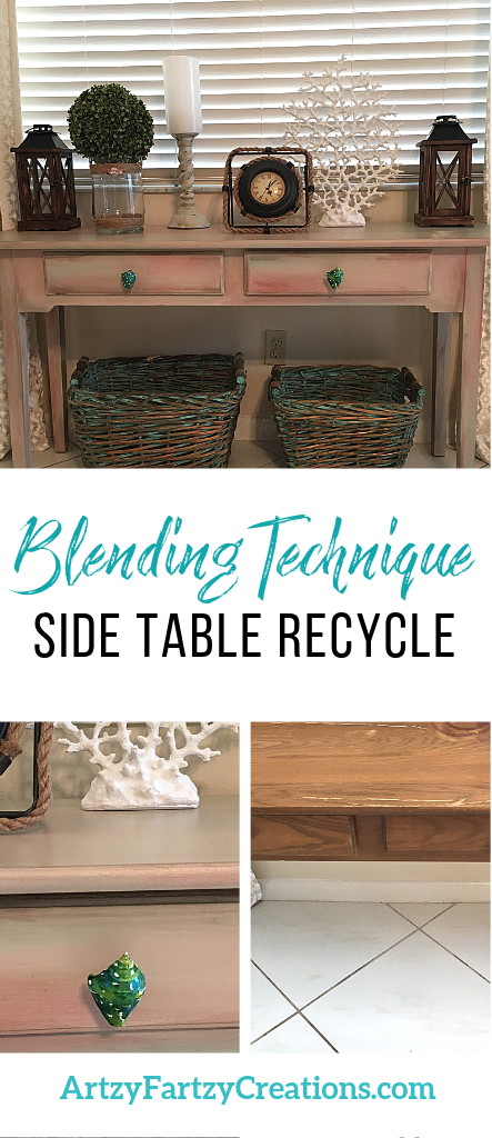 Blending Technique Side Table Recycle by Cheryl Phan @ ArtzyFartzyCreations.com