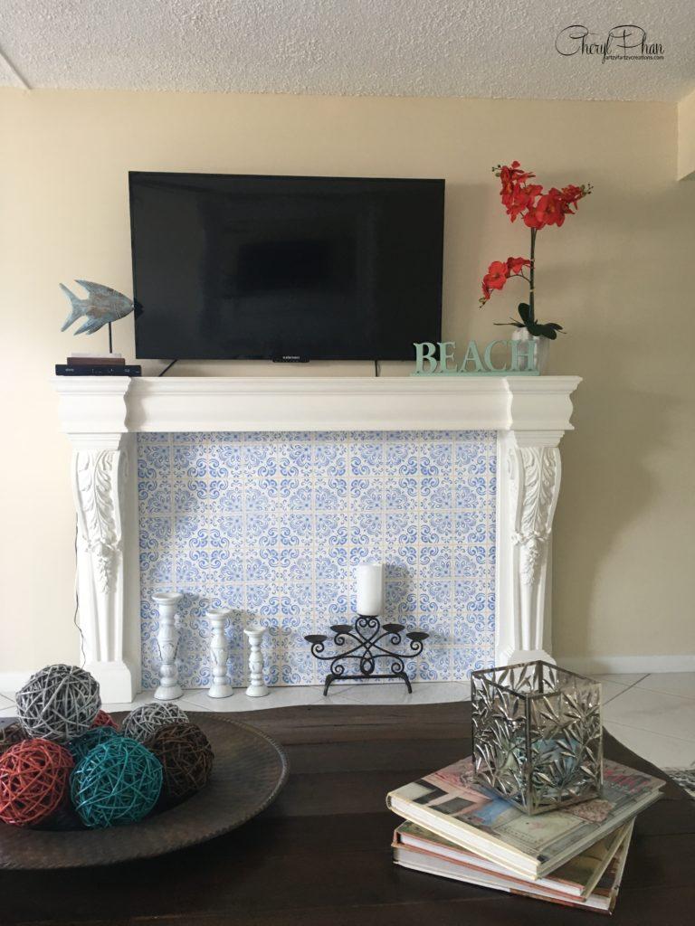 Portuguese Tile Fireplace Surround by Cheryl Phan@ArtzyFartzyCreations.com