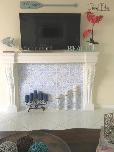 Portuguese tile fireplace surround_Cheryl Phan