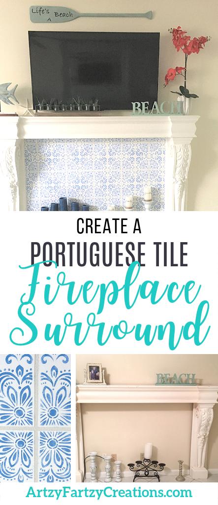 Portuguese Tile Fireplace Surround by Cheryl Phan -ArtzyFartzyCreations.com