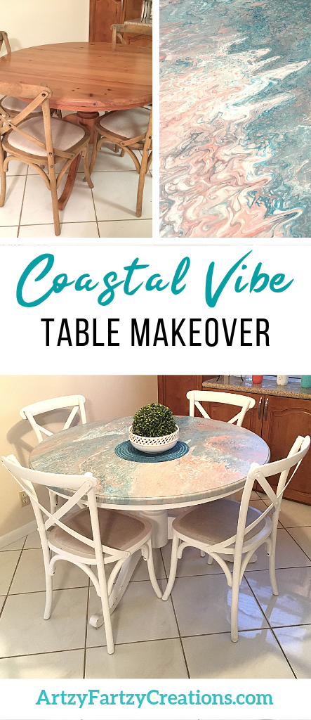 Table Makeover with a dirty pour coastal vibe by Cheryl Phan @ ArtzyFartzyCreations.com